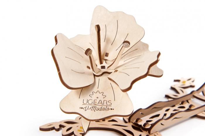 Puzzle 3D Mecanic , Fluture cu floare [4]