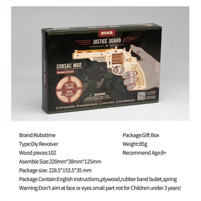 Puzzle 3D, Pistol Corsac M60, Lemn 6