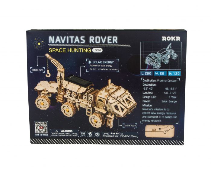 Puzzle 3D spatial, cu baterie solara, Navitas Rover 1
