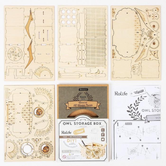 Puzzle 3D, Suport creioane Bufnita, 61 piese [6]