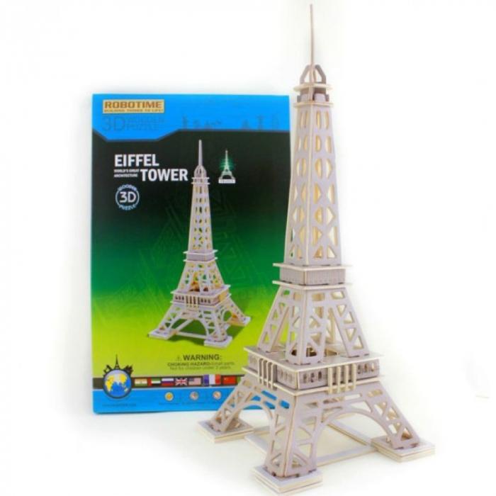 Puzzle 3D Turnul Eiffel, Lemn, 63 piese [1]