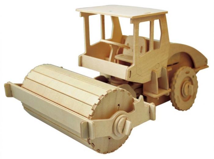 Puzzle mecanic 3D din lemn, cu telecomanda, Masina de asfaltat, 78 piese [0]