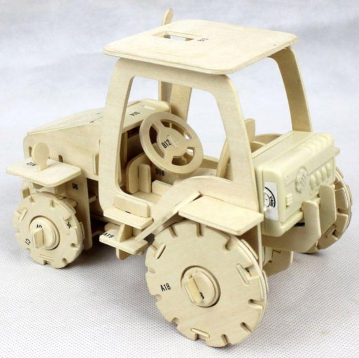 Puzzle mecanic 3D din lemn, cu telecomanda, Tractor, 183 piese [3]