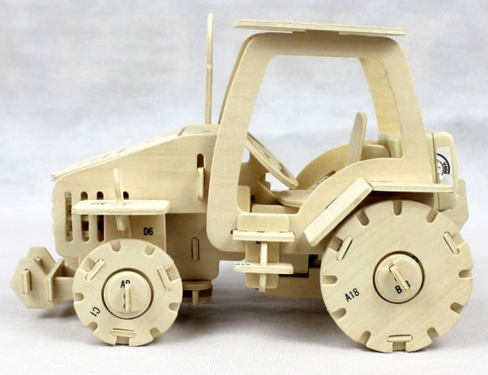 Puzzle mecanic 3D din lemn, cu telecomanda, Tractor, 183 piese [2]