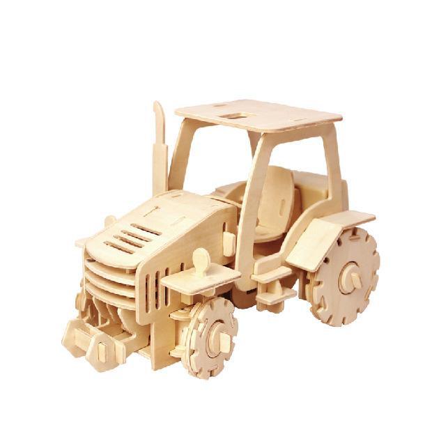 Puzzle mecanic 3D din lemn, cu telecomanda, Tractor, 183 piese [0]