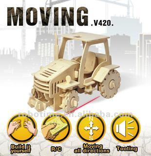 Puzzle mecanic 3D din lemn, cu telecomanda, Tractor, 183 piese [4]