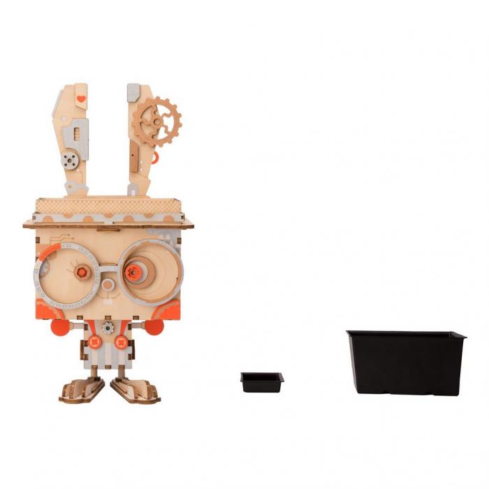 Puzzle 3D din lemn, Ghiveci - iepuras, 66 piese [4]