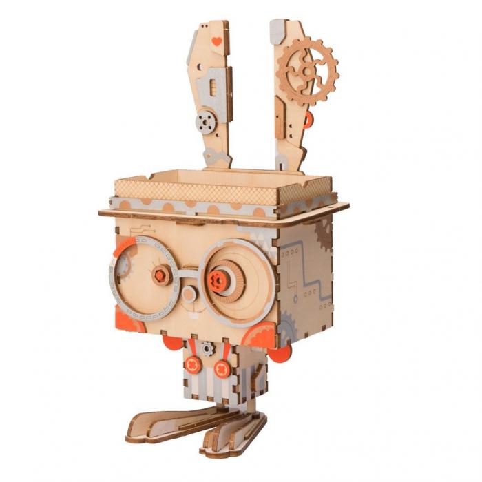 Puzzle 3D din lemn, Ghiveci - iepuras, 66 piese [1]