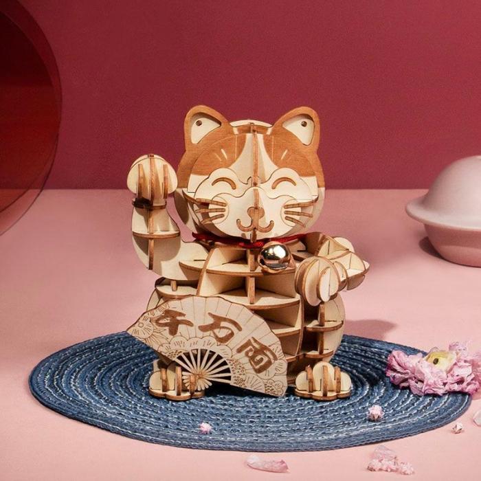 Puzzle 3D din lemn, Pisica prosperitatii, 72 piese [3]