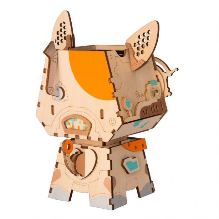 Puzzle 3D din lemn, Ghiveci - catelus, 58 piese [3]
