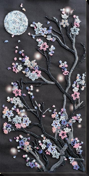 Set broderie cu margele cusute, Sakura noaptea 0