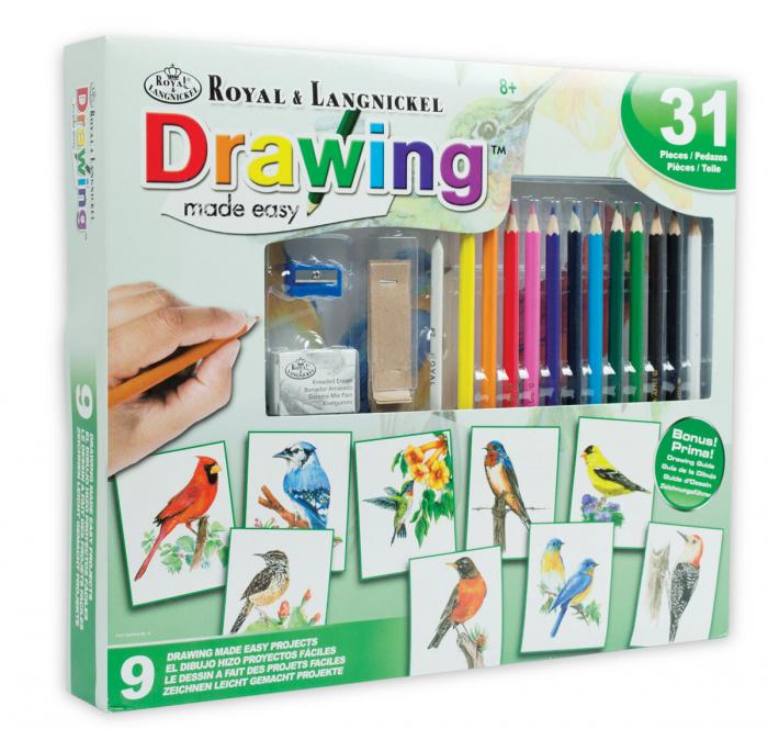 Set desen creioane colorate si planse, Pasari 0