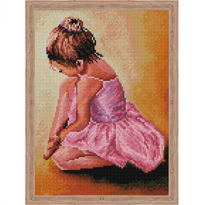 Set goblen cu diamante, cu sasiu, Ballerina Baby, 30x40 cm 0