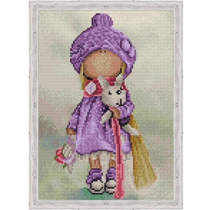 Set goblen cu diamante, cu sasiu, Betty Doll, 30x40 cm 1