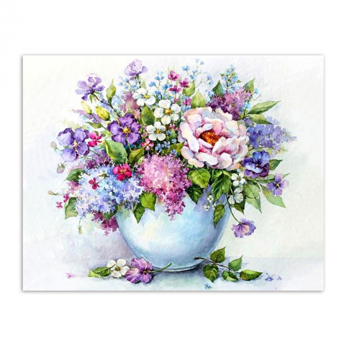Set goblen cu diamante, cu sasiu, Delicate Flowers, 40x50 cm 0