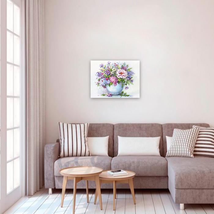 Set goblen cu diamante, cu sasiu, Delicate Flowers, 40x50 cm 2