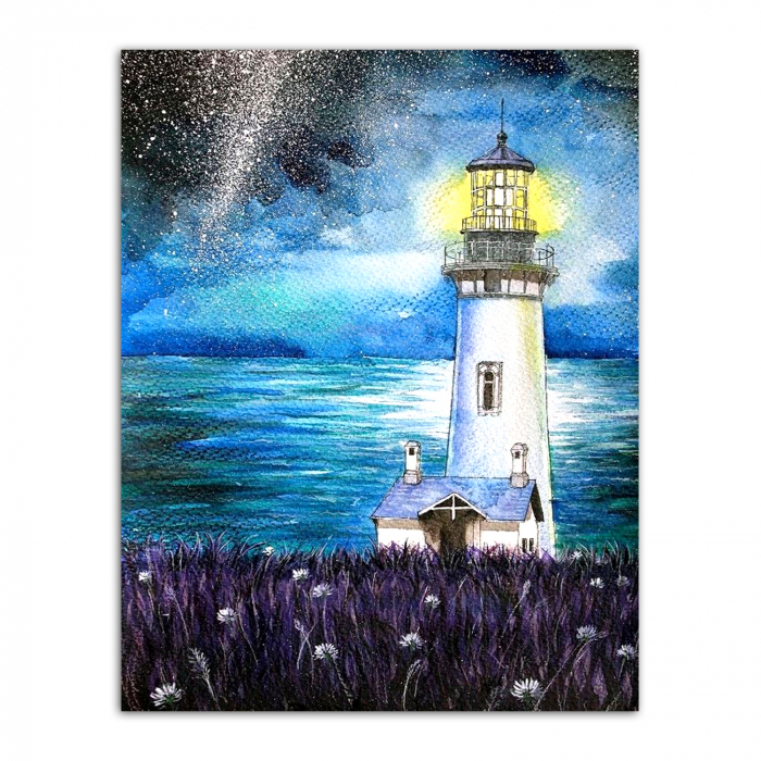 Set goblen cu diamante, cu sasiu, Lighthouse in the Night, 40x50 cm 0