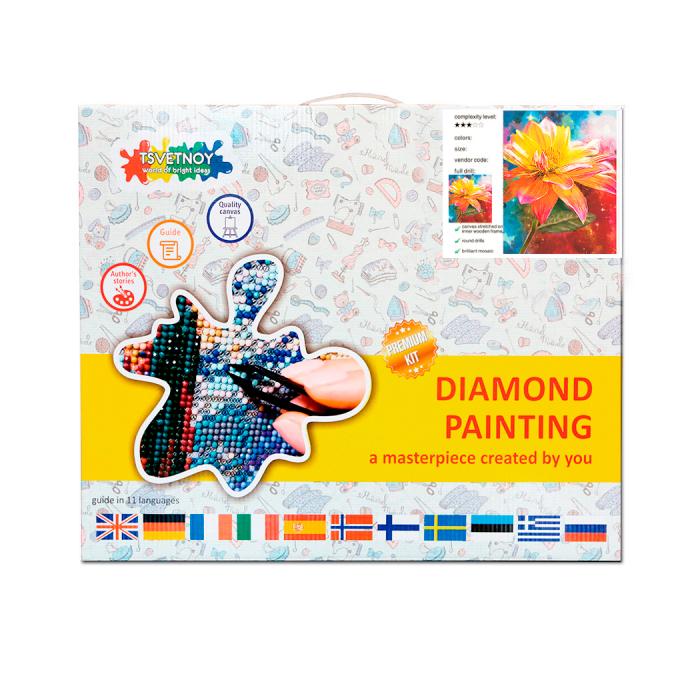Goblen cu Diamante, cu sasiu, Crin portocaliu, 40x50 cm 3