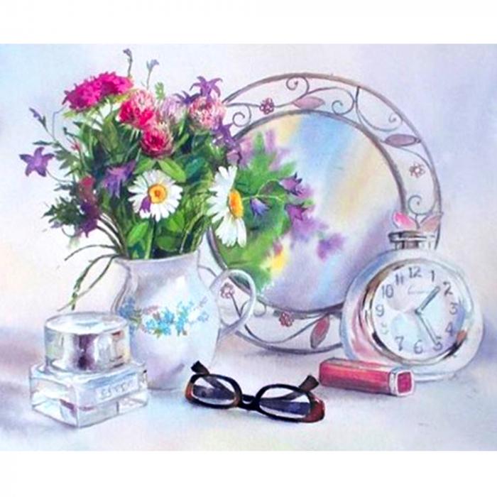 Goblen cu Diamante, cu sasiu, Dispozitie florala, 40x50 cm [0]