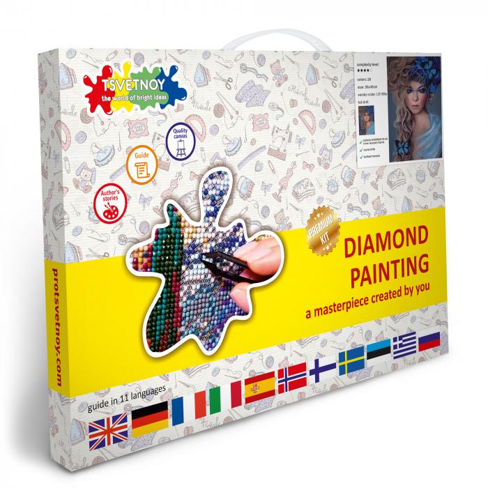 Set goblen cu diamante, cu sasiu, Fata cu fluturi, 30x40 cm 4