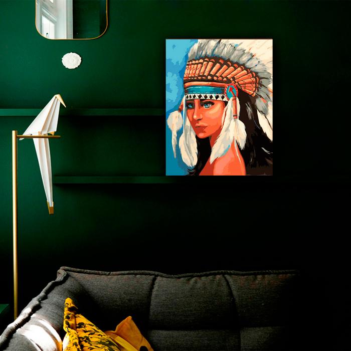 Goblen cu Diamante, cu sasiu, Fata indianca, 50x60 cm 2