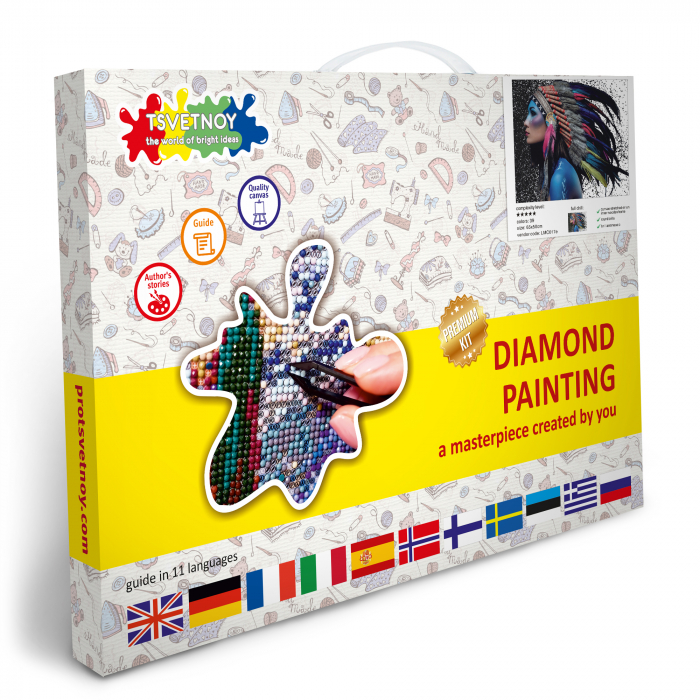 Goblen cu Diamante, cu sasiu, Fata Shaman, 50x60 cm [6]