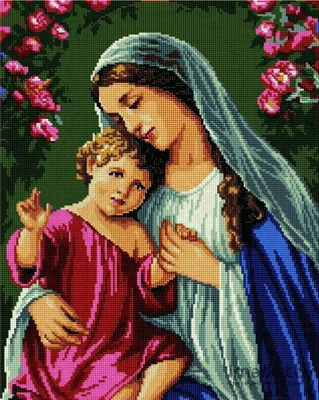 Set goblen cu diamante, cu sasiu, Fecioara Maria si Iisus, 40x50 cm [0]