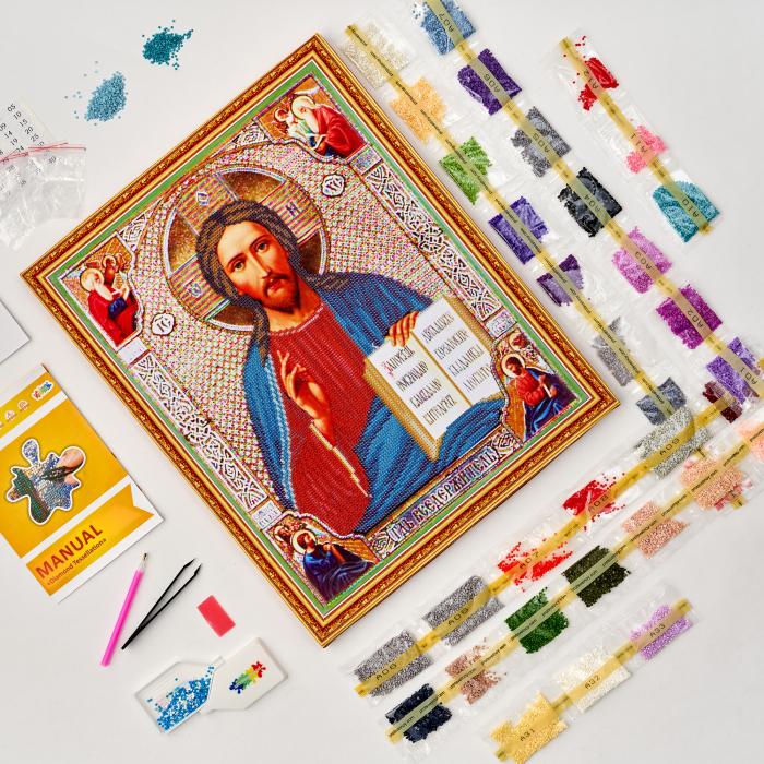 Set goblen cu diamante, cu sasiu, Icoana - Isus Hristos 40x50 cm 1