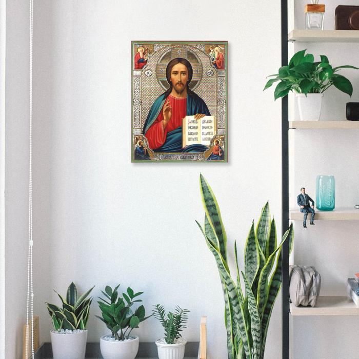 Set goblen cu diamante, cu sasiu, Icoana - Isus Hristos 40x50 cm 3