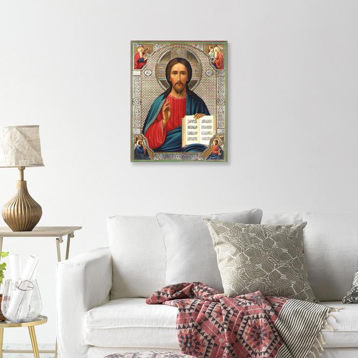 Set goblen cu diamante, cu sasiu, Icoana - Isus Hristos 40x50 cm 4