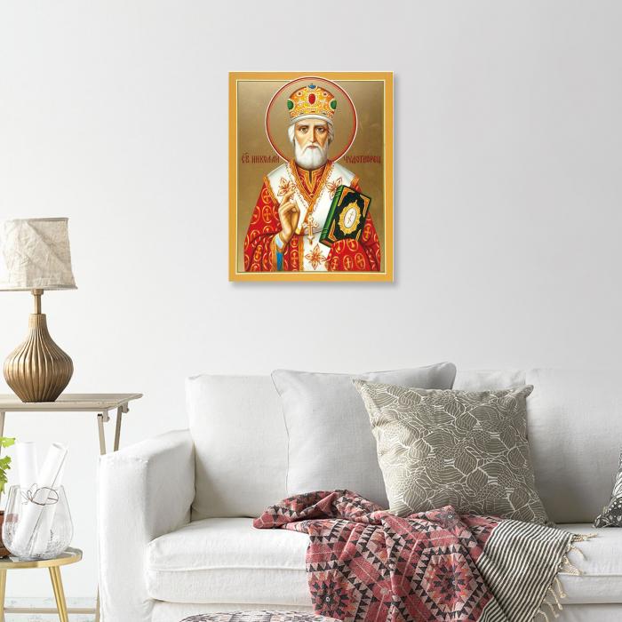 Set goblen cu diamante, cu sasiu, Icoana - Sf. Nicolae, 40x50 cm [3]