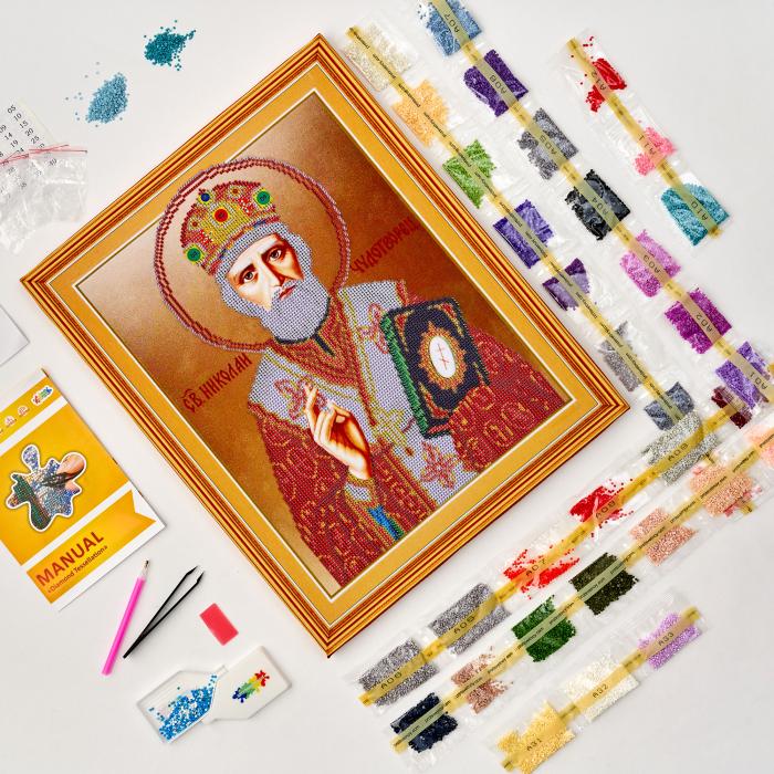 Set goblen cu diamante, cu sasiu, Icoana - Sf. Nicolae, 40x50 cm [1]