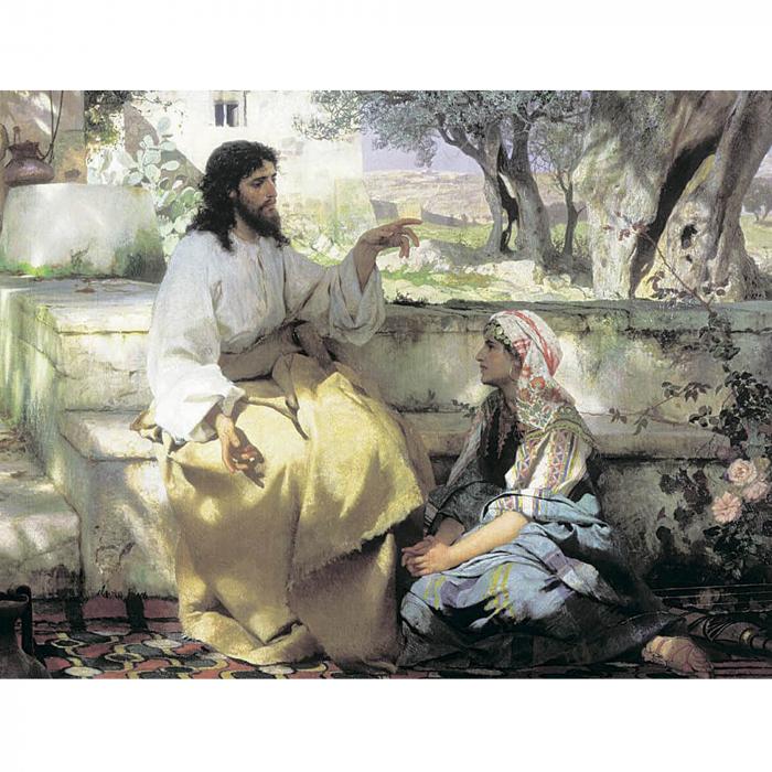 Goblen cu diamante, cu sasiu, Isus si femeia samariteanca 50x65 cm 0