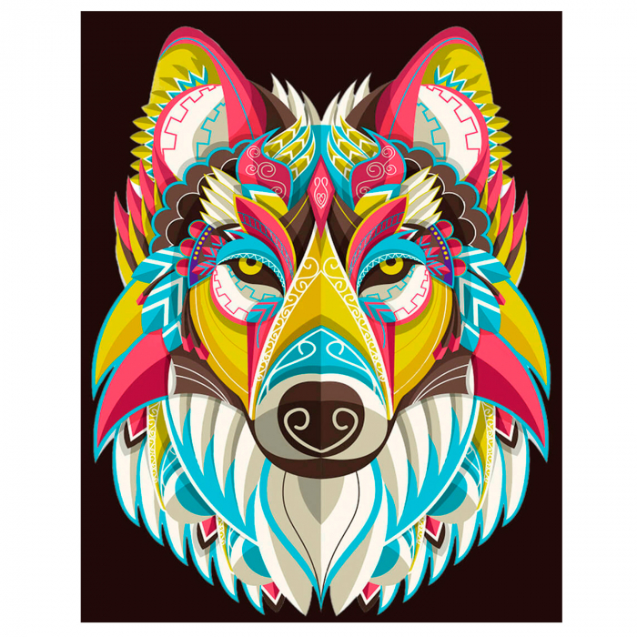 Set goblen cu diamante, cu sasiu, Colourful Wolf, 30x40 cm 0
