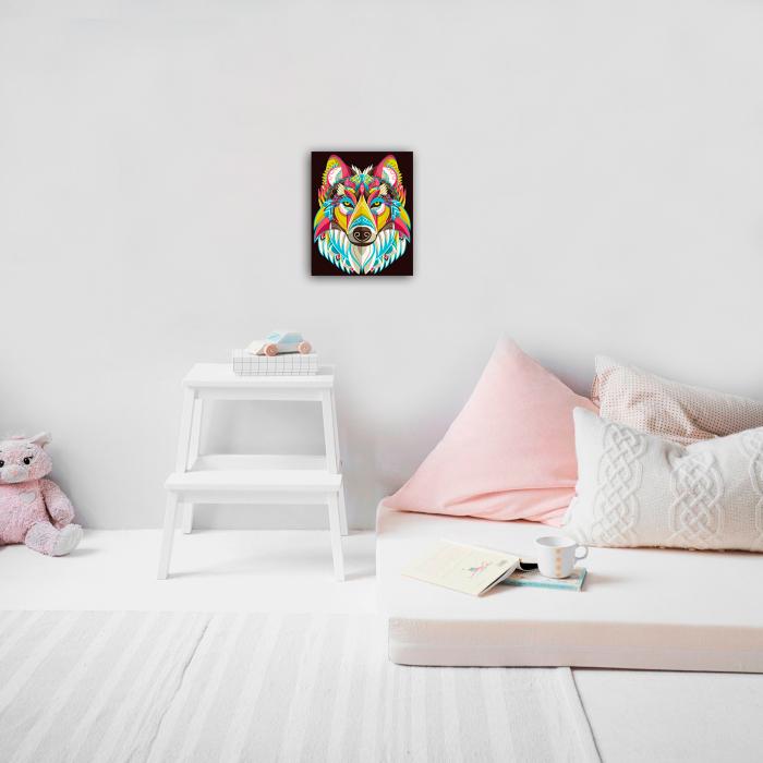 Set goblen cu diamante, cu sasiu, Colourful Wolf, 30x40 cm 1