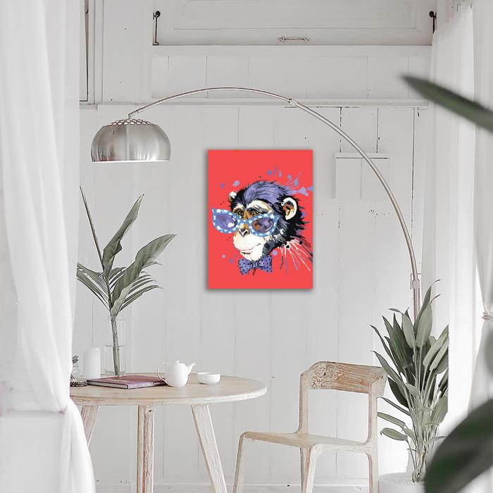 Goblen cu Diamante, cu sasiu, Maimuta cu stil, 40x50 cm [2]