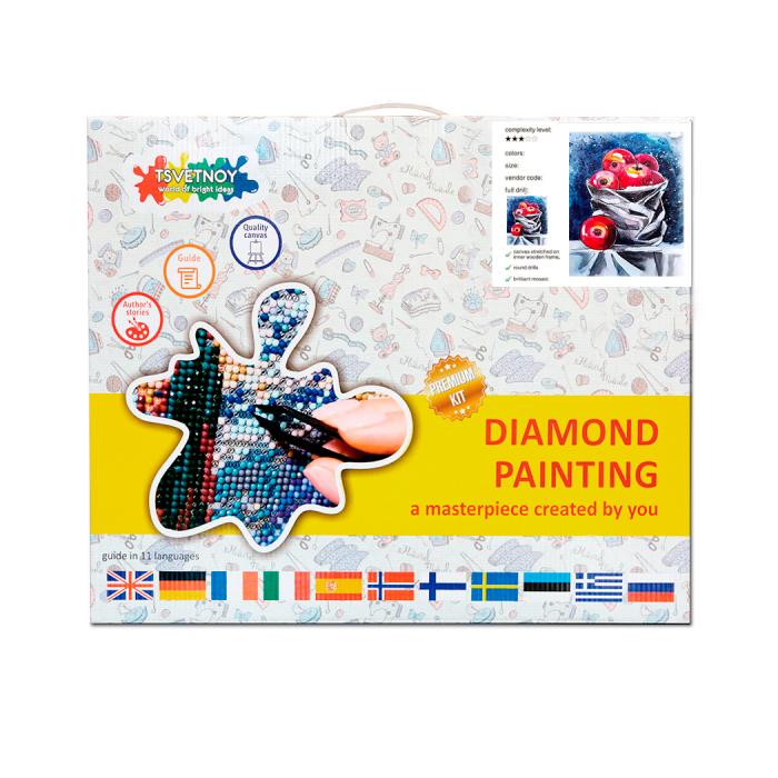 Goblen cu Diamante, cu sasiu, Natura moarta cu mere, 40x50 cm [2]