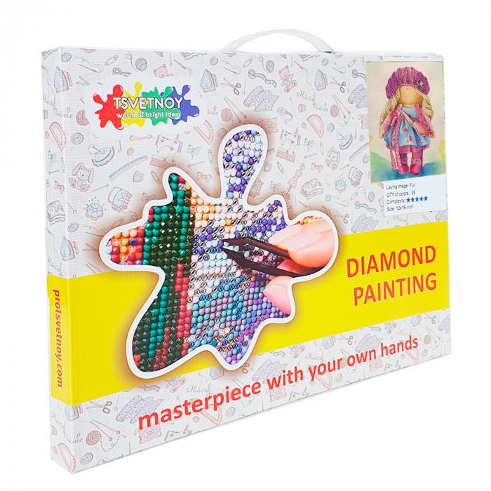 Goblen cu diamante, cu sasiu, Papusa Nicole, 30x40 cm 1