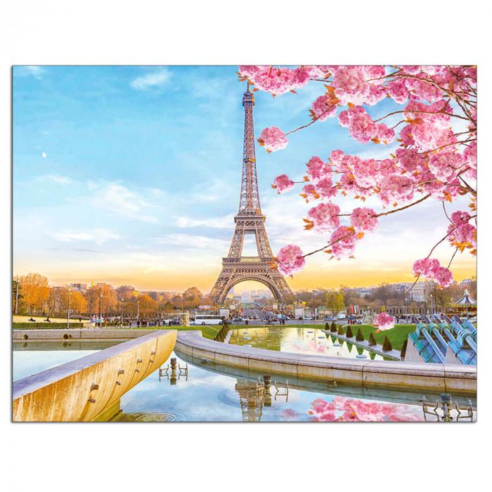 Set goblen cu diamante, cu sasiu, Paris in Blossom, 40x50 cm 0
