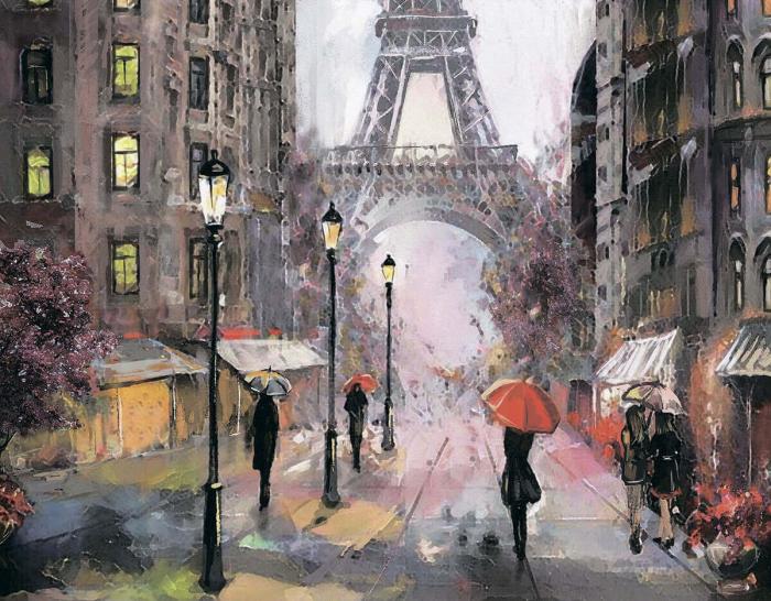 Goblen cu Diamante, cu sasiu, Paris in the rain, 40x50 cm [0]