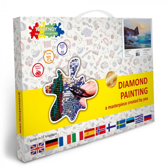 Set goblen cu diamante, cu sasiu, Peisaj de Coasta, 40x50 cm [3]