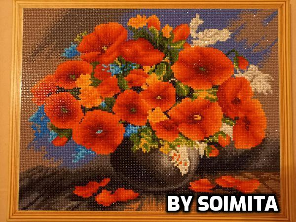 Goblen cu diamante, cu sasiu, Red Bouquet [1]