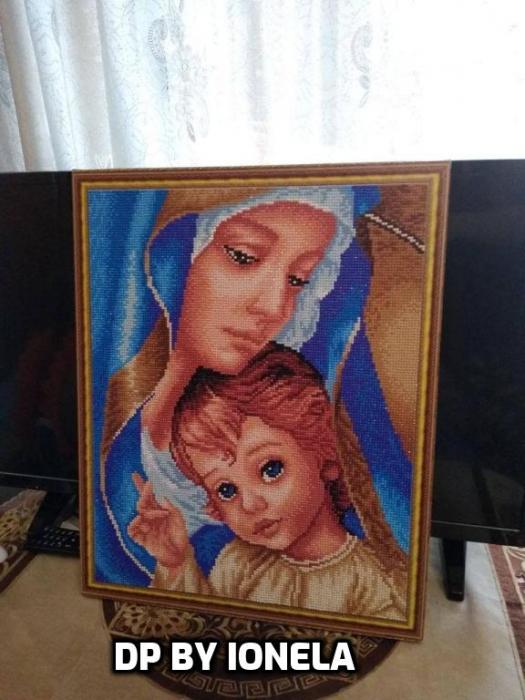 Goblen cu Diamante, cu sasiu, Sfanta Maria, 40x50 cm [1]