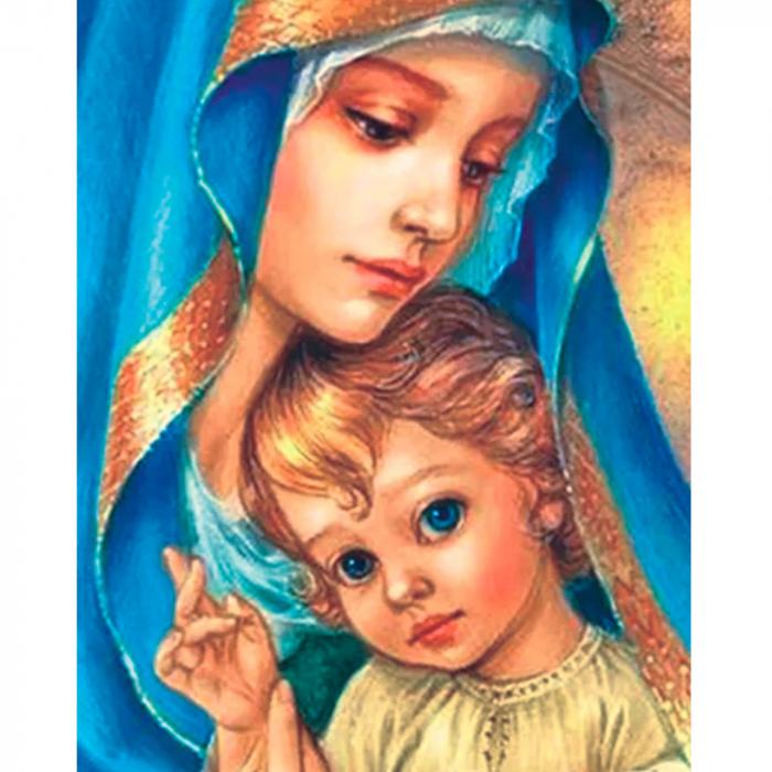Goblen cu Diamante, cu sasiu, Sfanta Maria, 40x50 cm 0