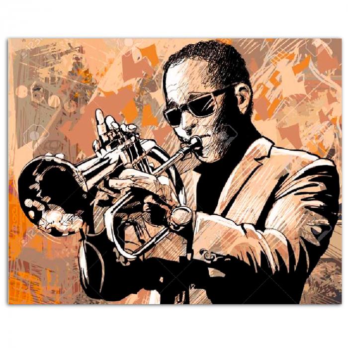 Goblen cu diamante, cu sasiu, Trumpet Player 0