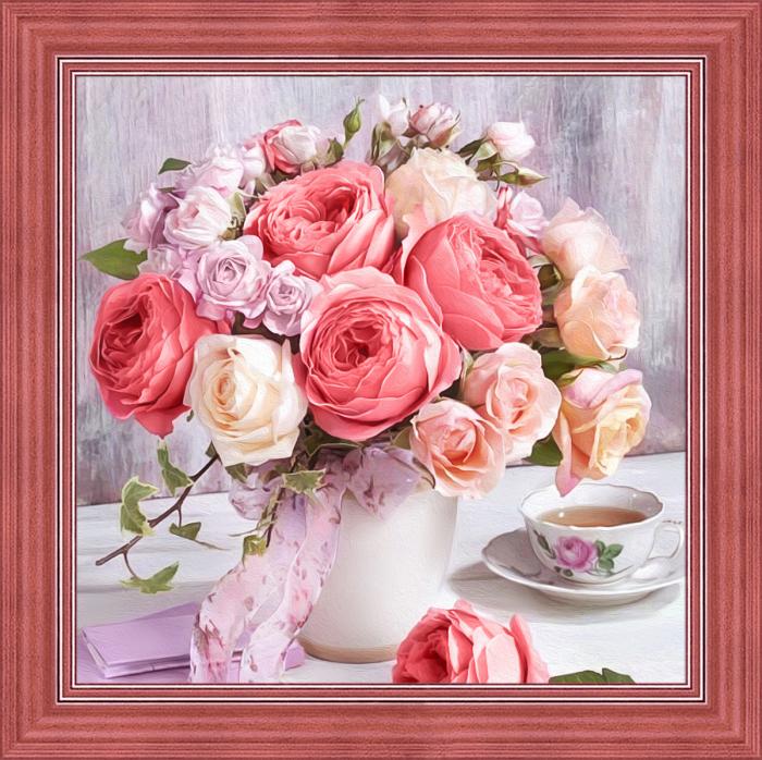 Set goblen cu diamante, fara sasiu, Bujori si trandafiri [0]