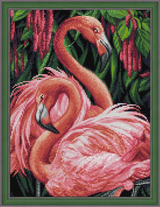 Set goblen cu diamante, fara sasiu, Cuplu de flamingo [1]
