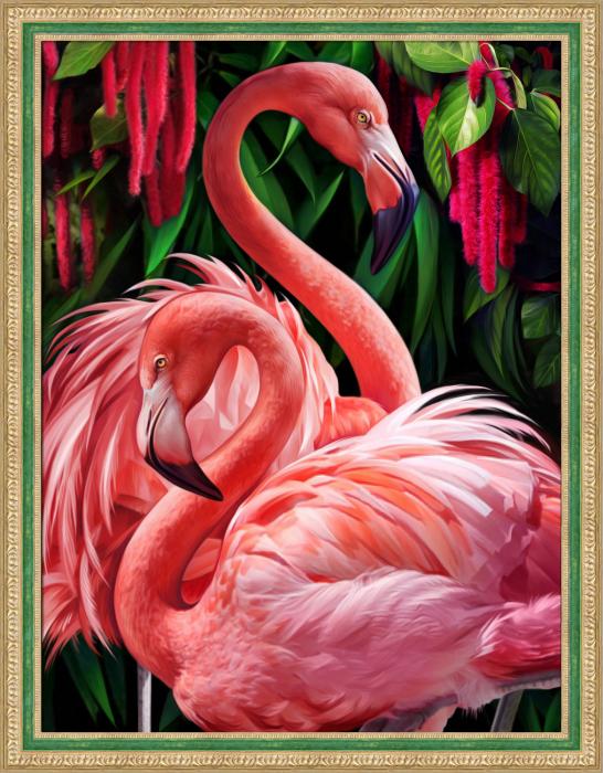 Set goblen cu diamante, fara sasiu, Cuplu de flamingo [0]