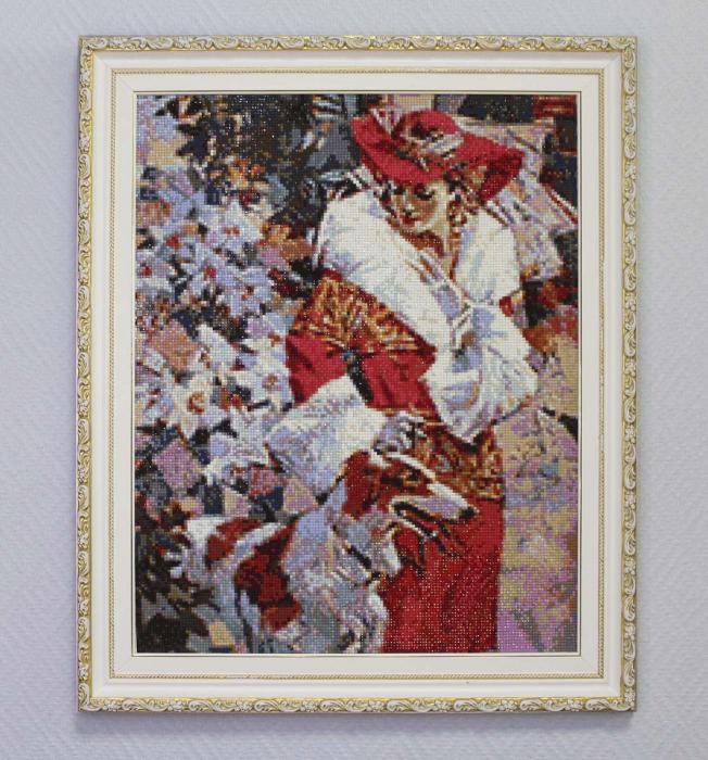 Set goblen cu diamante, fara sasiu, Doamna cu Caine, 48x38 cm [2]
