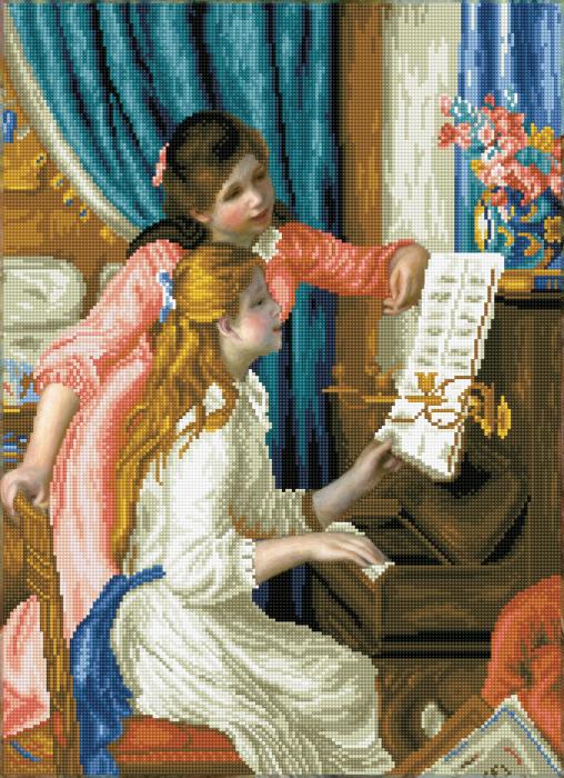 Goblen cu diamante, Fete la pian - Renoir, 66x48 cm [0]